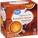 Great Value Pumpkin Spice Cappuccino Mix Naturally Flavored Single Serve Cups (Color: orange red)