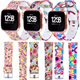 WISHTA 3PCS Fitbit Versa Replacement Watch Bands, Soft Resin Small& Large Sport Strap with Metal Buckle for Fitbit Versa Smart Watch (Color: 3pcs-colorful-03, Tamaño: Large)