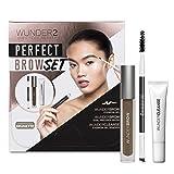 WUNDER2 PERFECT BROW SET- WunderBrow Eyebrow Gel, WunderCleanse & Dual Precision Brush, Brunette (Color: Brunette)