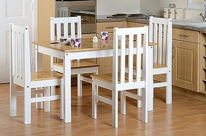 Seconique Ludlow klein Esstisch mit 4Ludlow Stuhle–Eiche/weiß