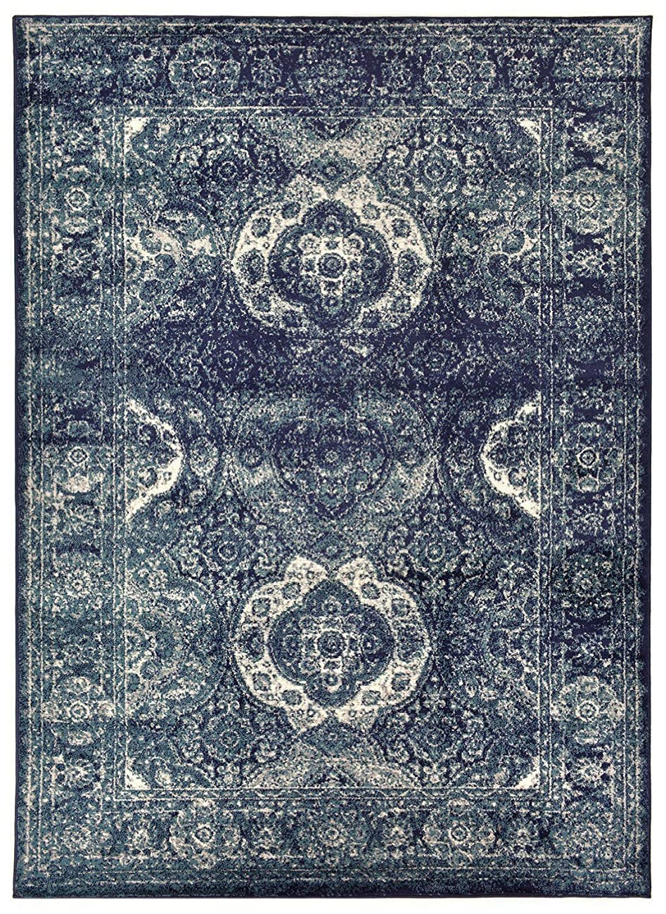 Studio Collection Vintage French Aubusson Design Contemporary Modern Area Rug Rugs 3 Different Color Options (Aubusson Navy Blue, 5 x 7) 1