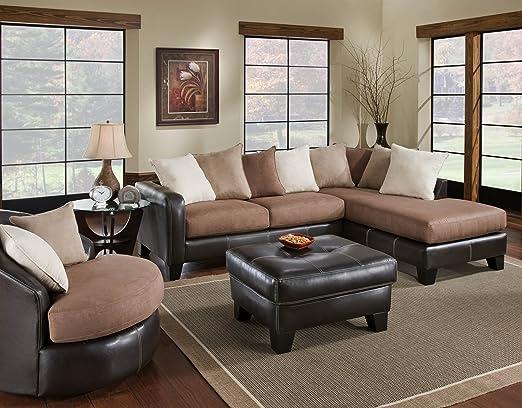 Chelsea Home Furniture Burke 2-Piece Sectional, San Marino Mocha/Sienna Truffle/Sienna Cappuccino/Sienna Fawn