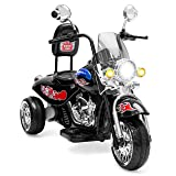 Best Choice Products 12V Kids Ride-On Motorcycle Chopper w/ Built-in Music, MP3 Plug-in - Black (Color: Black)