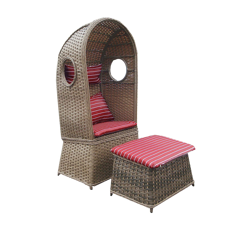 Strandkorb NOSTALGIE 1-Sitzer Korb mit Fußbank und Auflage rot, LILIMO ®