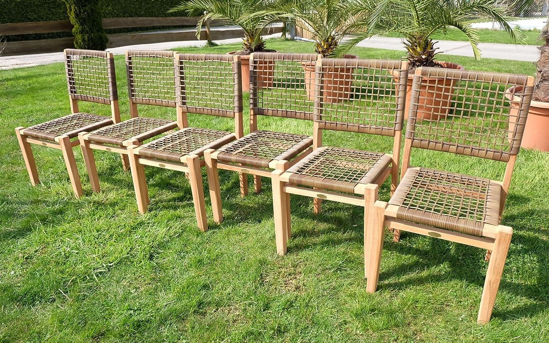 6Stück ECHT TEAK Design Rattan Sessel Gartensessel Gartenstuhl Sessel Holzsessel Gartenmöbel Holz geölt sehr robust Modell: RIO von AS-S online bestellen