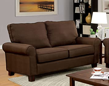 Furniture of America Levine Classic Love Seat, Brown