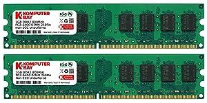 Komputerbay 4GB 2X 2GB DDR2 800MHz PC2 6300 PC2 6400 DDR2 800 (240 PIN) DIMM Desktop MemoryCustomer review and more news