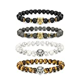 LOLIAS 4 Pcs Lava Rock Bead Bracelet for Men Leopard Lion bracelet Set Adjustable 8MM Beads Y