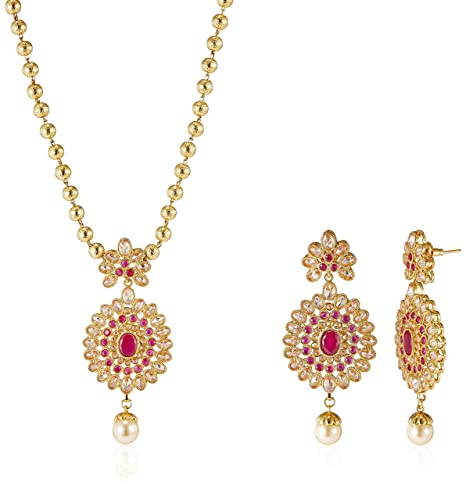 Peora Gold Plated Red Oval Pearl Pendant Earring Set with Beaded Chain available at Amazon for Rs.9100