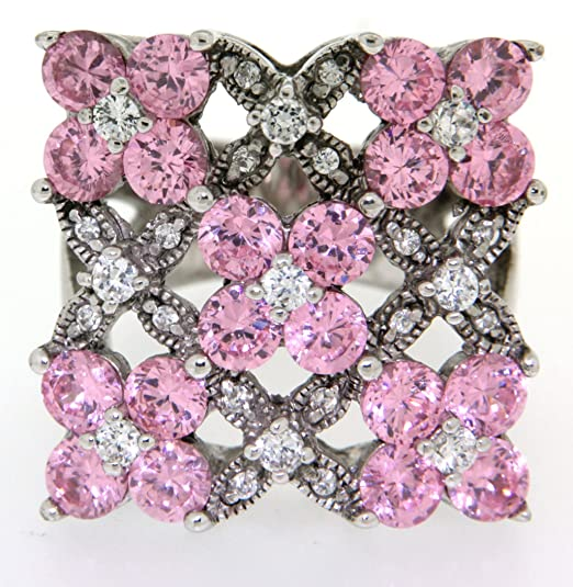 Mbody: Rhodium Plated, Sterling Silver, Large Flower Motif, Dress Ring. Pink and Clear CZs, ONE ONLY Size M