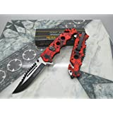 Tac Force Assisted Opening Rescue Glass Breaker Bright Red Skull Design Hunting Camping Tatical Pocket Knife (Color: Red)