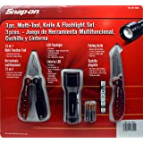 Snap on 3pc multi tool knife & flashlight set (Color: Red)