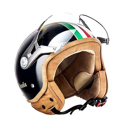 SOXON SP-325 Imola black - ITALY casque JET Vespa moto Cruiser Pilot noir - Taille: XS S M L XL