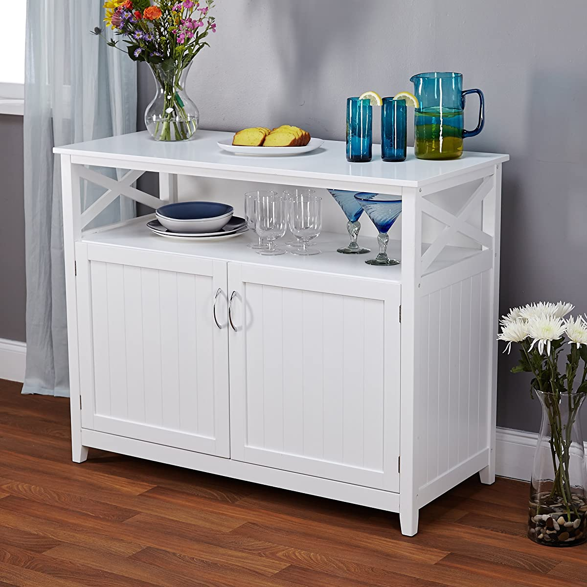 Contemporary Cottage Wooden Buffet in White Finish