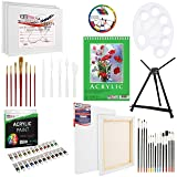 U.S Art Supply 60-Piece Deluxe Acrylic Painting Set with Aluminum Tabletop Easel, 24 Acrylic Colors, Acrylic Painting Pad, Stretched & Canvas Panels, Brushes & Palette Knives (Tamaño: 60 Piece Acrylic Painting Set)