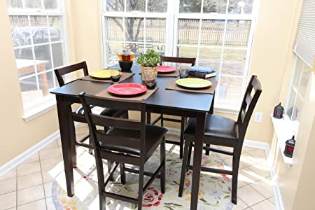 5pc Square Espresso Counter Height 4 Leather Chairs Dining Table & Chair Set