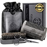 Beard Comb and Beard Brush Kit, Anti-Static Black Sandalwood Comb with Protective Case, 100% Boar Bristle Brush, Beard & Mustache Scissors, Linen Pouch Bag, Gift Box Set for Men's Beard Grooming Care (Color: Black)