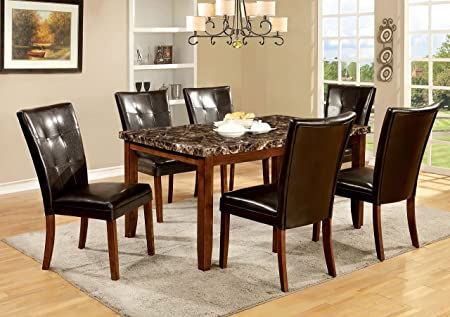 Furniture of America Smithson 7-Piece Transitional Faux Marble Dining Set