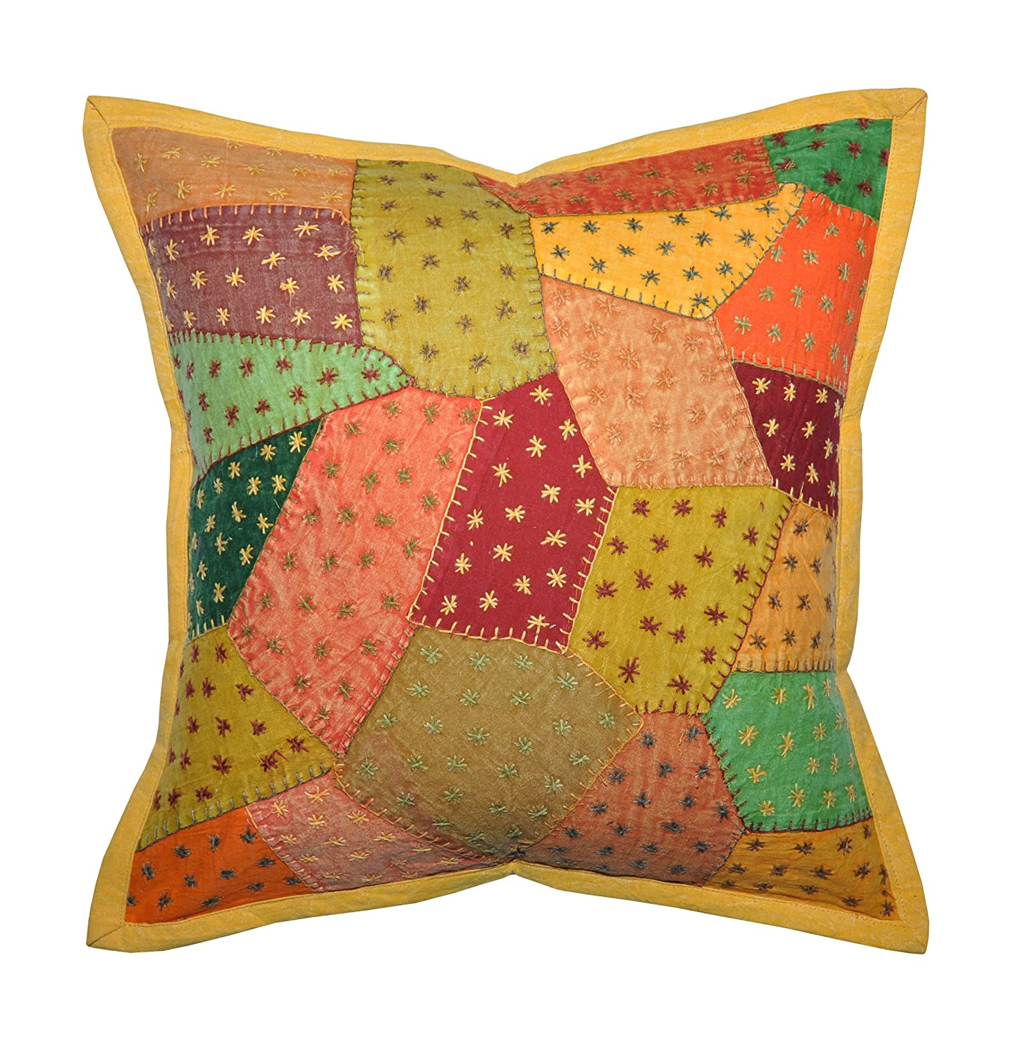 Traditional Pillows : 2 Traditional Indian Cotton Cushion Pillow Cover With Embroidery & Patchwork 16