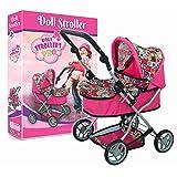 Doll Pram Super Cute with Adjustable Handle and Storage Basket