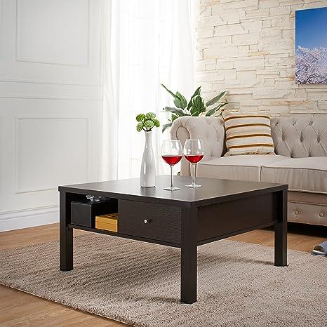 Mante Contemporary Square Coffee Table, Cappuccino
