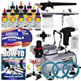 PointZero Cake Airbrush Decorating Kit - 3 Airbrushes, Stand, Compressor, and 12 Chefmaster Colors (Tamaño: 2 Ounces)