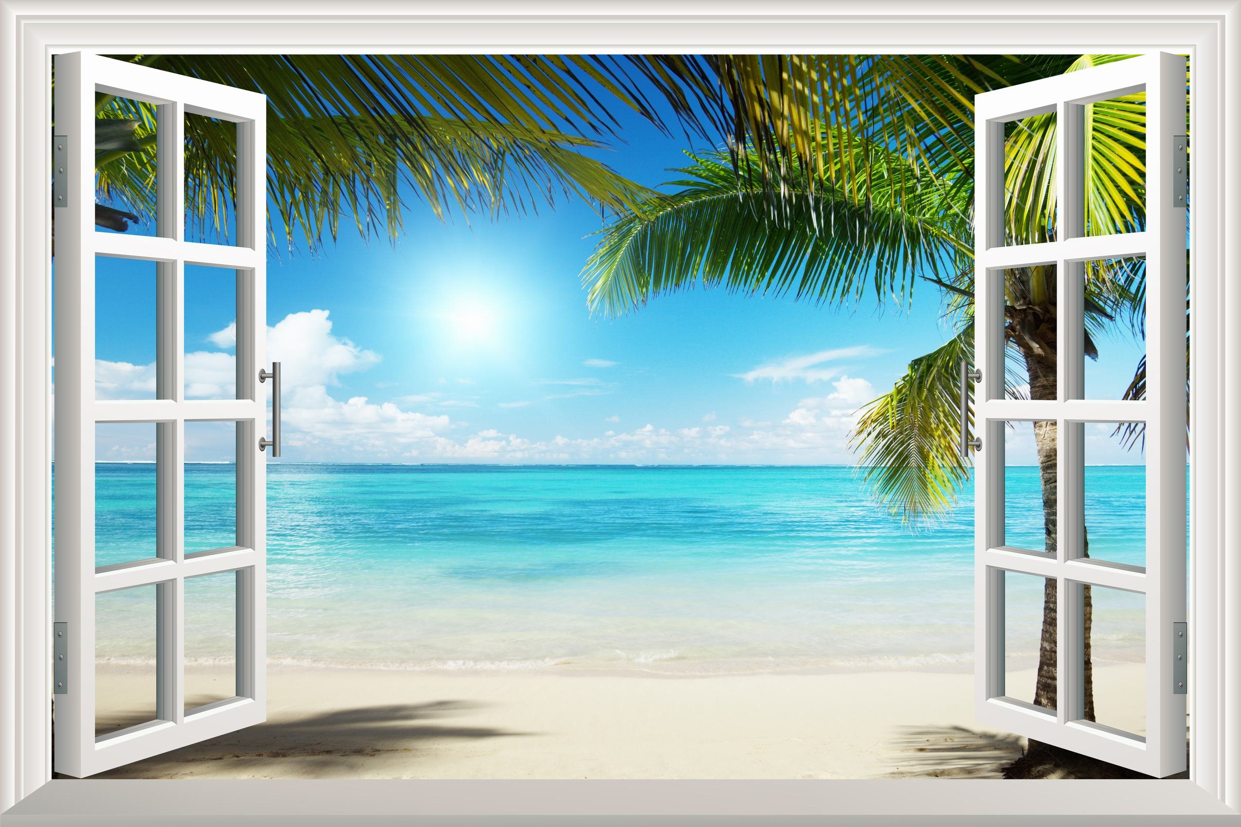 White sand beach with palm tree open window mural wall for Beach mural for wall