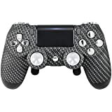 PS4 Elite Controller Adjustable Paddles (Real Carbon Fiber) GM Master Mod, Trigger Stops, Modded Controller Mod Custom Green Rapid Fire, Drop Shot, Quickscope COD Infinite Warfare, WW2 Chrome Custom (Color: