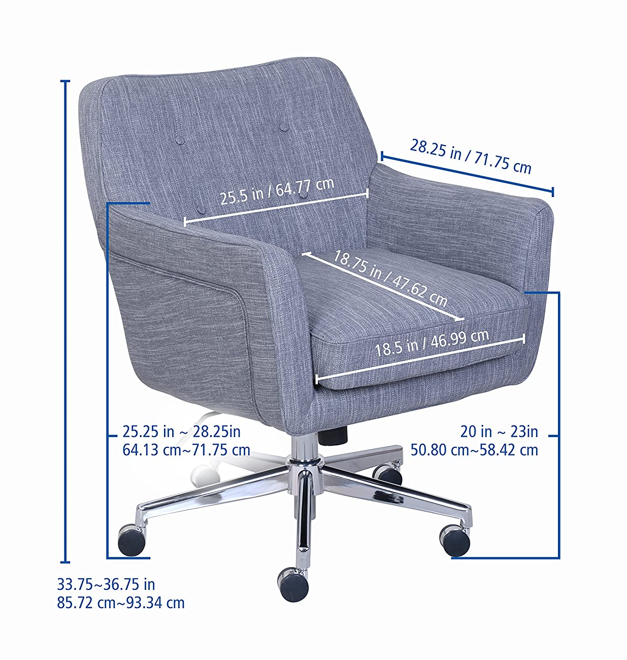Serta Quot Ashland Quot Winter River Gray Home Office Chair