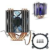AVC 6 Pipes Aluminum LED CPU Cooler Fan Heatsink For Intel LAG1156/1155/1150/775