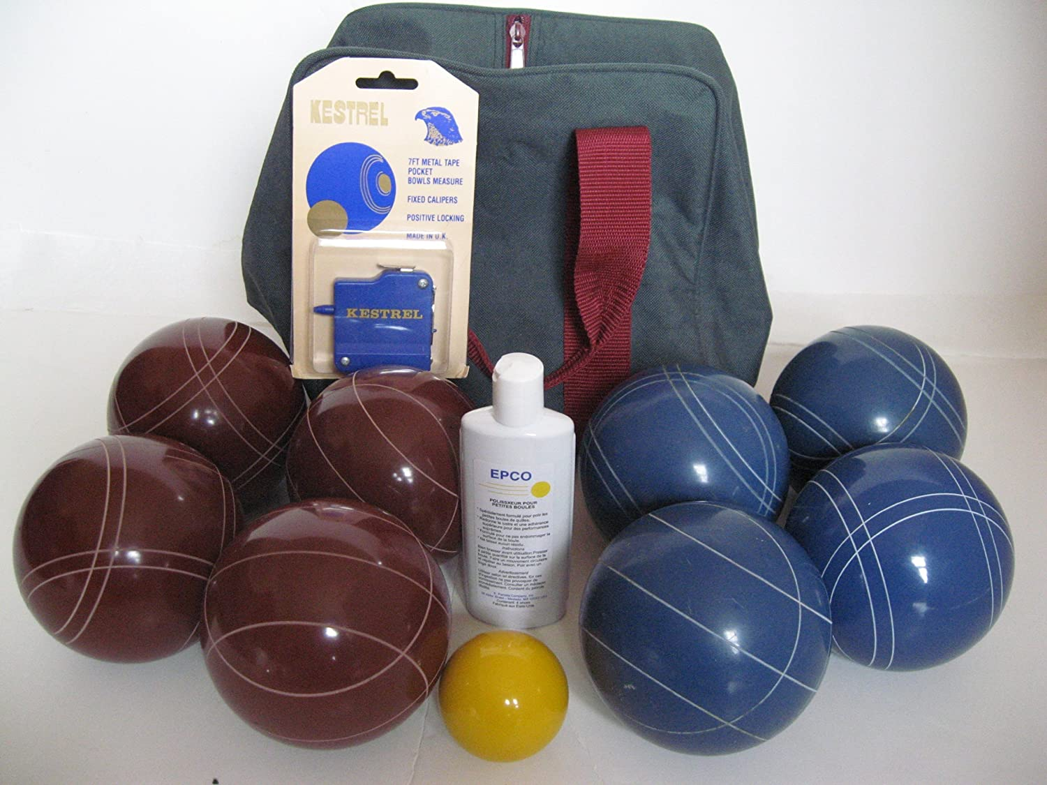 Premium Quality Basic EPCO Bocce package - 107mm Red and Blue balls, quality ...