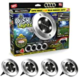Disk Lights 4-LED Solar-Powered Auto On/Off Outdoor Lighting As Seen On TV (Set of 4; Original) (Color: Multicolor)