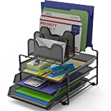 SimpleHouseware Desk 3 Sliding Tray and 5 Stacking Section Organizers (Color: Black)