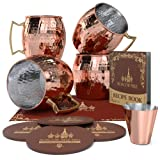 Krown Kitchen - Hammered Moscow Mule Copper Mug Set of 4| Stainless Steel Lining | 16 oz (Color: Hammered)