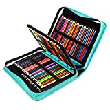 YOUSHARES 180 Slots PU Leather Colored Pencil Case - Large Capacity Carrying Case for Prismacolor Watercolor Pencils, Crayola Colored Pencils, Marco Pens, Gel Pens(Green) (Color: Green)