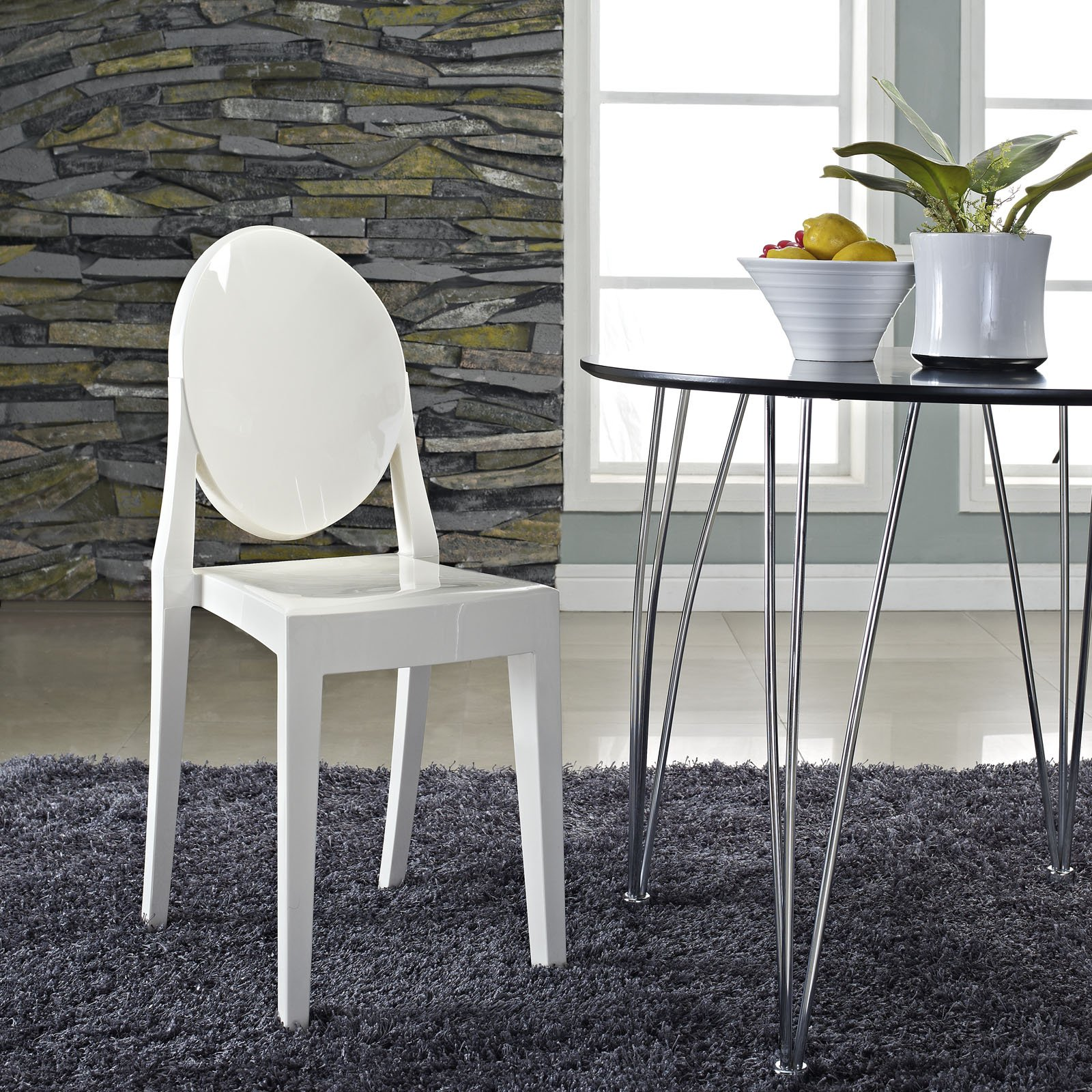 lexmod philippe starck style victoria ghost chair in white. Black Bedroom Furniture Sets. Home Design Ideas