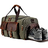 Weekend Duffle Bag Canvas Overnight Travel Duffel with Shoe Compartment Travel Tote Carry on Luggage Genuine Leather (Army Green) (Color: Army Green, Tamaño: Large: 21.7