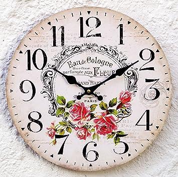 Uhr Wanduhr Küchenuhr antik Shabby weiß Landhaus Rosen