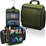 Hanging Travel Toiletry Bag for Men and Women - Large Cosmetics, Makeup and Toiletries Organizer Kit with 19 Compartments, YKK Zippers, XXL Metal Swivel Hook, Water-Resistant Nylon (Color: Forest Green)