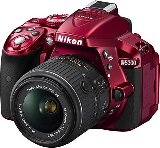 Nikon D5300 + AF-S DX 18-55 VR II Appareil Photo Numérique Compact 24.2 Mpix zoom 3 x Wi-Fi Rouge