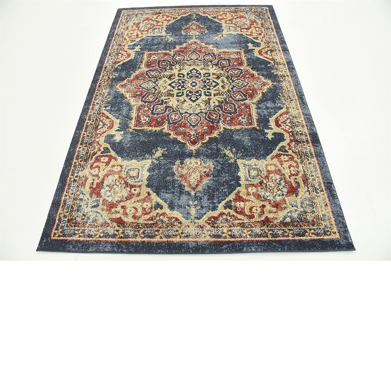 Traditional Persian Rugs Vintage Design Inspired Overdyed Fancy Dark Blue 4' x 6' FT (122cm x 183cm) St. James Area Rug 2