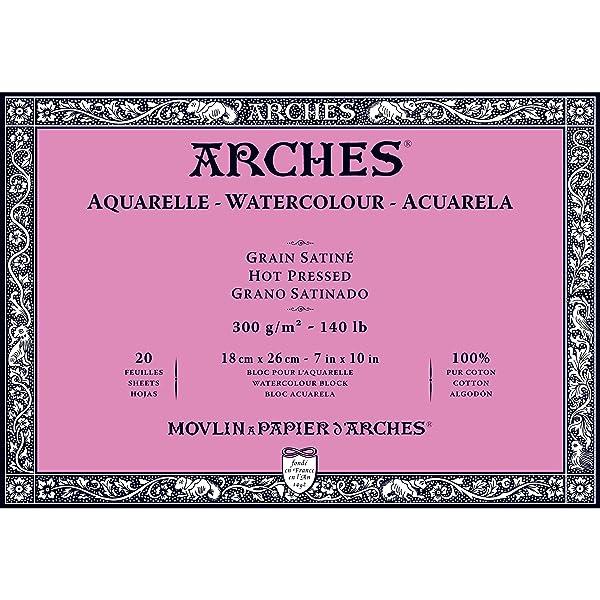 Arches Watercolor Paper Block, Hot Press, 7 x 10, 140 pound (1795070) (Tamaño: 7x10)