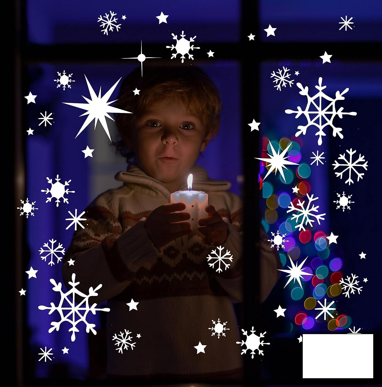 Fensterbild Wandtattoo Schneekristalle Schneeflocken Schnee Sterne Set 100 Teile M1679 – ausgewählte Farbe: *Weiß* – ausgewählte Größe: *XL – Maße siehe Beschreibung* jetzt kaufen