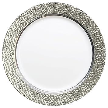 decorline vaisselle de luxe usage unique blanc avec bord bord en argent effet. Black Bedroom Furniture Sets. Home Design Ideas