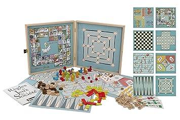 Jeujura - 8152 - Malette De Jeu - Coffret De Jeux Classiques - 150 Règles - Pions Bois