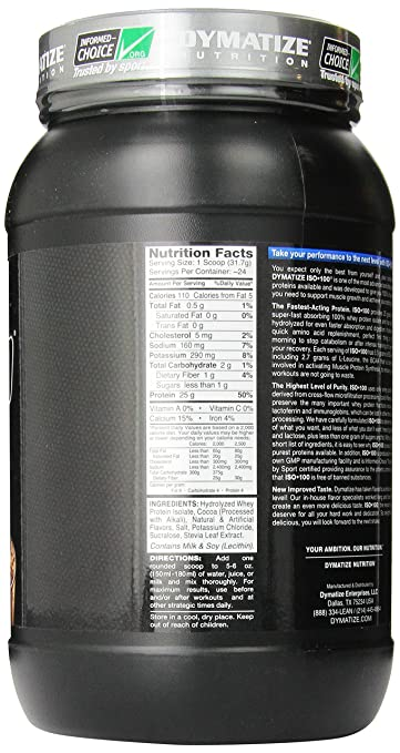 Dymatize ISO 100 Hydrolyzed - 1.6 lb Fudge Brownie