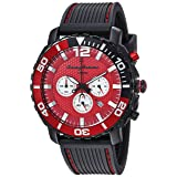 Tommy Bahama Men's Quartz Stainless Steel and Rubber Casual Watch, Color Red (Model: TB00007-04) (Color: Red/Black)