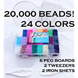 California R&D 2.5mm MINI Beads 20,000; 24 Colors, 6 Boards, Tweezers, Ironing Paper – Works with Perler, Nabbi, Hama, Pyssla, Melty - Occupational Therapy Fine Motor Montessori Toys Autism ADHD