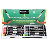 Sargent Art 22-1112 12-Count Water Color-Crayons with Brush (Color: Assorted, Tamaño: 3-5/8 x 5/16 in)