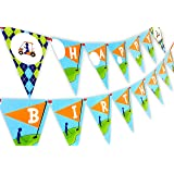 Golf Party Happy Birthday Banner Pennant (Color: Red, Aqua, Brown)